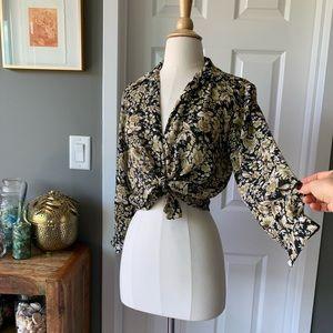 Vintage sheer floral button down 3108